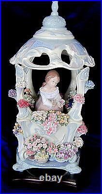 Lladro Limited Ed. Gazebo In Bloom #1865 Brand Nib Girl Flowers Rare Save$$ F/sh