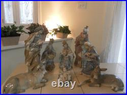 Lladro Nativity 8 Piece Set Old Rare Complete Set Mint Condition Fast Shipping