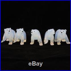Lot of 5 Swarovski SCS 2011 Polar Bear Cubs White Opal 1080774 Crystal Figurines