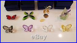 Lot of 8 Swarovski Butterfly Figurines Beautiful with Boxes & Certificates