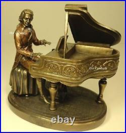 MOZART Playing Piano Sculpture Statue Rich Antique Bronze Color
