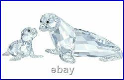 NIB $265 Swarovski Crystal Figurine Swarovski Sea Lion Mother With Baby #5275796
