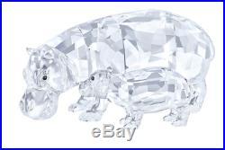 NIB $449 Swarovski Crystal Figurine Hippo Mother with Baby Clear Crystal 5135920