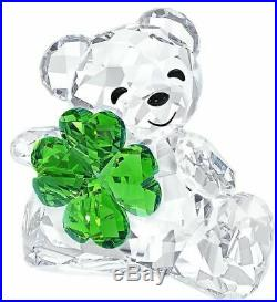 NIB Swarovski Crystal Figurine Kris Bear Good Luck four-leaf clover #5063321