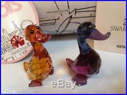NIB Swarovski Crystal Figurine Lovlots City Park Lily & Luke Duck Set #5076628