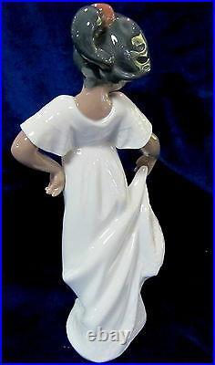 Nao By Lladro #1374 Little Sweetheart Brand Nib Black Girl White Dress Dance F/s