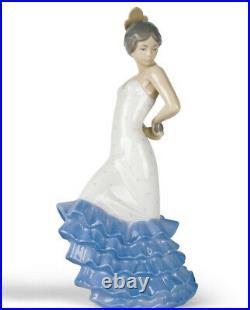 Nao By Lladro #418 Flamenco Bnib Lady Flamenco Dancer Blue White Dress Spanish