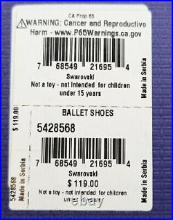 New 100% SWAROVSKI Pink White Crystal Ballet Shoes Figurine Display 5428568