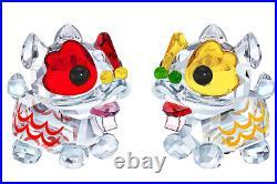 New in Box $179 Swarovski Dancing Lions Pair Asian Symbols #5302563