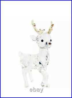 New in Box Swarovski Santa's Reindeer Christmas Crystal Clear Figurine #5400072
