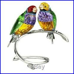 Nib Swarovski Rare Retired Gorgeous Gouldian Finches Birds Perdot Violet