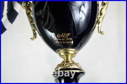 PAIR Cobalt blue acf sevres porcelain victorian scene marked Vases