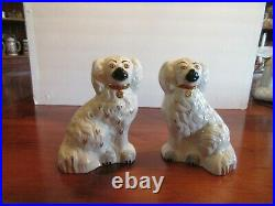 Pair of Beswick 8 inch White and Gold Staffordshire Spaniel Dogs