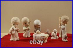 Precious Moments Christmas Nativity Figure 9 Pc. Set Come Let Us Adore Him