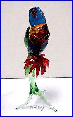 Rainbow Lorikeet Bird On Green Branch 2016 Swarovski Crystal #5136832