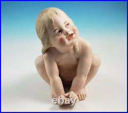 RARE Large Antique Heubach Bisque Porcelain Crouching Girl Piano Baby Figurine