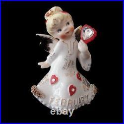 RARE Lefton FEBRUARY Birthday Angel Girl Figurine w Rhinestones Valentine's Day