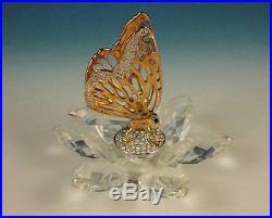 RARE Swarovski Gold Butterfly Crystal Figurine 7551 NR 100 In Flight Series NR