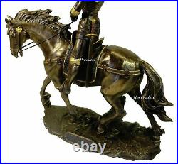 ROMAN CATHOLIC SAINT JOAN OF ARC on Horse With Flag Sculpture Statue Bronze Finish