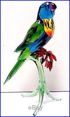 Rainbow Lorikeet Bird On Green Branch 2016 Swarovski Crystal 5136832