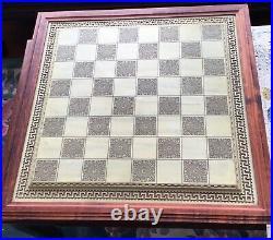 Rare Franklin Mint chess set of the gods large porcelain 6.5 King board 24K HTF