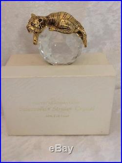 Rare Vintage Strass Collection Swarovski Crystal Trimlite Gold Tiger Paperweight