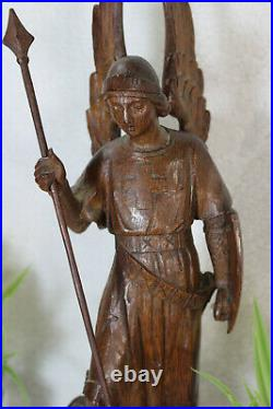Rare antique French 19th wood carved saint michael dragon figurine statue
