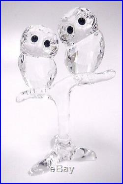 Retired Baby Owls Adorable Birds On Branch Clear Swarovski Crystal 5249263