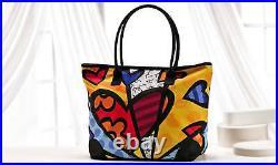 Romero Britto Hearts Large Tote Bag with Zipper Top