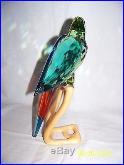 Swarovski Crystal Chrome Green Macaw Bird Figurine New In Box 0685824 Retired