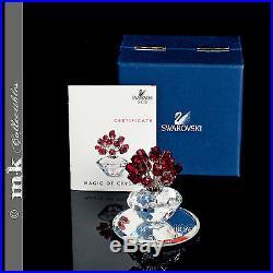 SWAROVSKI CRYSTAL JUBILEE VASE OF 12 RED ROSES PLUS MIRROR MINT IN BOX W CERT