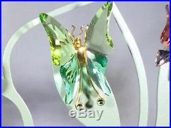SWAROVSKI Crystal Paradise Butterfly (5) and Flower (3) Set Lot with Leaf Stand