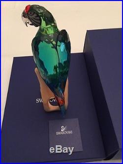 Swarovski Retired Paradise Chrome Green Macaw In Box