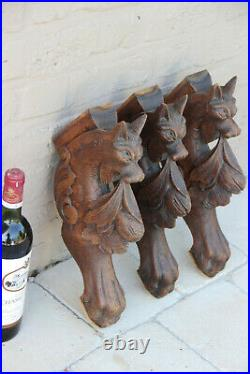 Set 3 Antique wood carved dragon figurines hunt table legs gothic