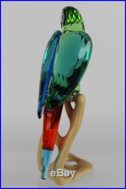 Signed Large Swarovski Austria Green Macaw Parrot Crome Crystal Figurine NR MDC