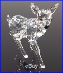 Signed Swarovski Standing Deer Roe Fawn Silver Crystal Figurine Retired