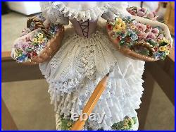 Sitzendorf Dresden Lace Girl With Flower Baskets Porcelain Figurine Germany
