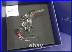Swallows, Birds on branch, Pink Flower Clear Crystal Swarovski Authentic 5475566