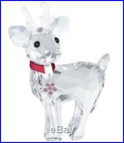 Swarovski 3 Pc Set Snowman Christmas Tree Chrysolite Baby Reindeer Retired Bnib