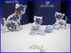 Swarovski Cat Mother With Kitten Sitting & Kitten Standing Bnib
