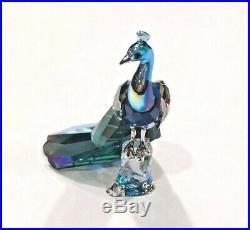 Swarovski Color Crystal Bird Figurine SCS 2013 Peacock with plaque #1145553 MIB