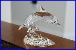 Swarovski Crystal 190365 Dolphin On Wave South Seas Figurine Box 1995 COA