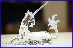 Swarovski Crystal 1996 Annual Edition Unicorn Retaired Piece Box/Papers/Stand