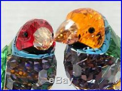 Swarovski Crystal Birds Figurine Gouldin Finches Peridot #1141675 Mint