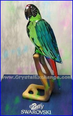 Swarovski Crystal Chrome Green Macaw Bird 685824 Retired in 2011. MIB + COA