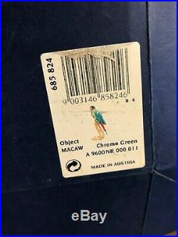 Swarovski Crystal Chrome Green Macaw Birds of Paradise 685824 Large Figure w BOX