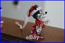 Swarovski Crystal Disney 4 Figurines Mickey Minnie Winnie Poo Bear Christmas Box