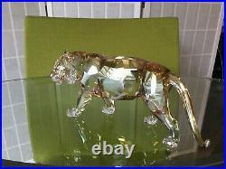 Swarovski Crystal ENDANGERED WILDLIFE TIGERGolden Figurine #1003148 MIB WithCOA