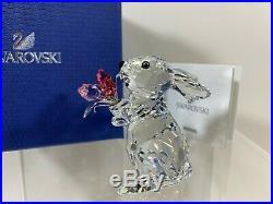 Swarovski Crystal Figure Bunny Rabbit With Tulips 1177251 MIB WithCOA