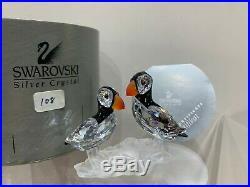 Swarovski Crystal Figurine 2 Puffins on A Branch 7621 000 008 / 261643 MIB WithCOA